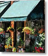 Flower Shop With Green Awnings Metal Print by Susan Savad