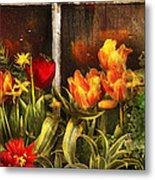 Flower - Tulip - Tulips In A Window Metal Print by Mike Savad