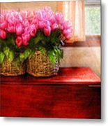 Flower - Tulips By A Window Metal Print by Mike Savad