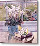 Flowers And Book On Table Metal Print by Julia Rowntree