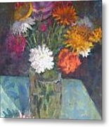 Flowers And Glass Metal Print by Terry Perham