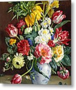 Flowers In A Blue And White Vase Metal Print by R Klausner