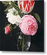 Flowers In A Glass Vase Metal Print by Daniel Seghers