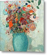 Flowers In A Turquoise Vase Metal Print by Odilon Redon