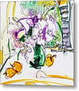 Flowers In Green Vase Metal Print by Becky Kim