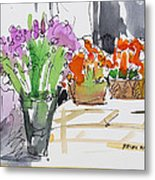 Flowers In Pots Metal Print by Becky Kim