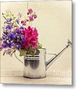 Flowers In Watering Can Metal Print by Edward Fielding