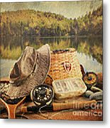 Fly Fishing Equipment  With Vintage Look Metal Print by Sandra Cunningham