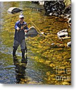 Fly Fishing For Trout Metal Print by Nava Thompson
