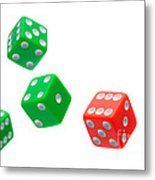 Flying Craps Dice  Metal Print by Olivier Le Queinec