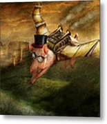 Flying Pig - Steampunk - The Flying Swine Metal Print by Mike Savad