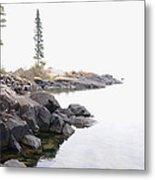 Foggy Day On Lake Superior Metal Print by Sandra Updyke