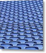 Folding Plastic Blue Seats Metal Print by Dutourdumonde Photography