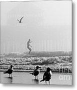 Folly Beach Pier Foggy Day Surf Metal Print by Dustin K Ryan