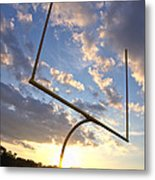 Football Goal At Sunset Metal Print by Olivier Le Queinec