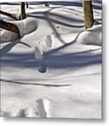 Footprints In The Snow Metal Print by Louise Heusinkveld
