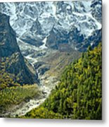 Forest And Mountains In Himalayas Metal Print by Raimond Klavins