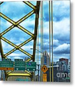 Fort Pitt Bridge And Downtown Pittsburgh Metal Print by Thomas R Fletcher