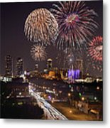 Fort Worth Skyline At Night Fireworks Color Evening Ft. Worth Texas Metal Print by Jon Holiday