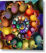 Fractal Textured Spiral Metal Print by Peggi Wolfe