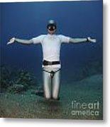 Freediver Underwater Metal Print by Hagai Nativ