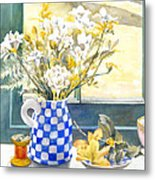 Freesias And Chequered Jug Metal Print by Julia Rowntree