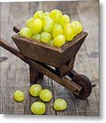 Fresh Green Grapes In A Wheelbarrow Metal Print by Aged Pixel