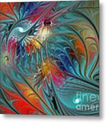 Fresh Mints And Cool Blues-abstract Fractal Art Metal Print by Karin Kuhlmann