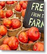 Fresh Tomatoes In Baskets At Farmers Market Metal Print by Teri Virbickis