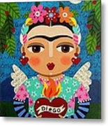 Frida Kahlo Angel And Flaming Heart Metal Print by LuLu Mypinkturtle