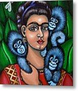 Fridas Triplets Metal Print by Victoria De Almeida