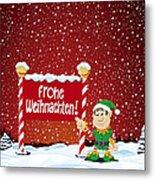 Frohe Weihnachten Sign Christmas Elf Winter Landscape Metal Print by Frank Ramspott