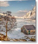 Frozen Lake Ogwen Metal Print by Adrian Evans