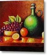 Fruit And Jug Metal Print by Gene Gregory