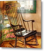 Furniture - Chair - The Rocking Chair Metal Print by Mike Savad