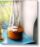 Furniture - Lamp - In The Window  Metal Print by Mike Savad