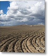 Furrows Before The Storm Metal Print by Mike  Dawson