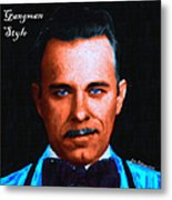 Gangman Style - John Dillinger 13225 - Black - Painterly - With Text Metal Print by Wingsdomain Art and Photography