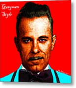 Gangman Style - John Dillinger 13225 - Red - Color Sketch Style - With Text Metal Print by Wingsdomain Art and Photography