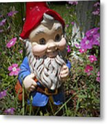 Garden Gnome Metal Print by Judy Hall-Folde