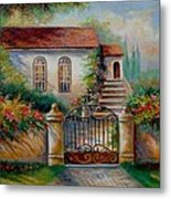 Garden Scene With Villa And Gate Metal Print by Gina Femrite