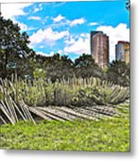 Garden With Bamboo Garden Fence In Battery Park In New York City-ny Metal Print by Ruth Hager