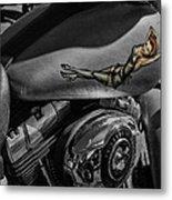 Gas Tank Pin Up Girl Metal Print by Jeff Swanson