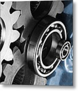 Gears And Cogwheels Reflection Metal Print by Christian Lagereek