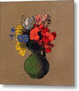 Geraniums And Flowers Of The Field Metal Print by Odilon Redon