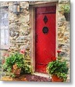 Geraniums By Red Door Metal Print by Susan Savad