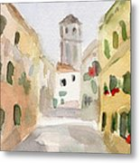 Geraniums Cannaregio Watercolor Painting Of Venice Italy Metal Print by Beverly Brown Prints