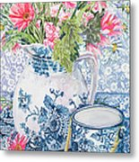 Gerberas In A Coalport Jug With Blue Pots Metal Print by Joan Thewsey