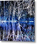 Ghostly Trees In Reflection Metal Print by ImagesAsArt Photos And Graphics