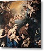 Giordano Luca, Holy Family Venerated Metal Print by Everett